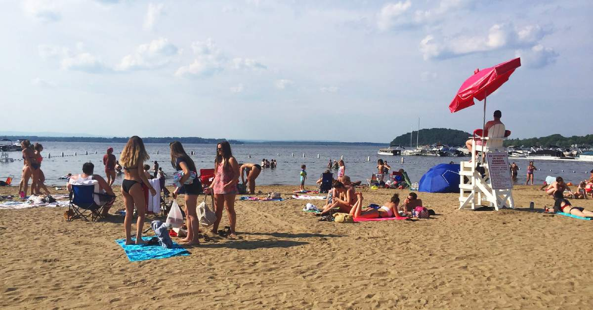 people at a sandy beach