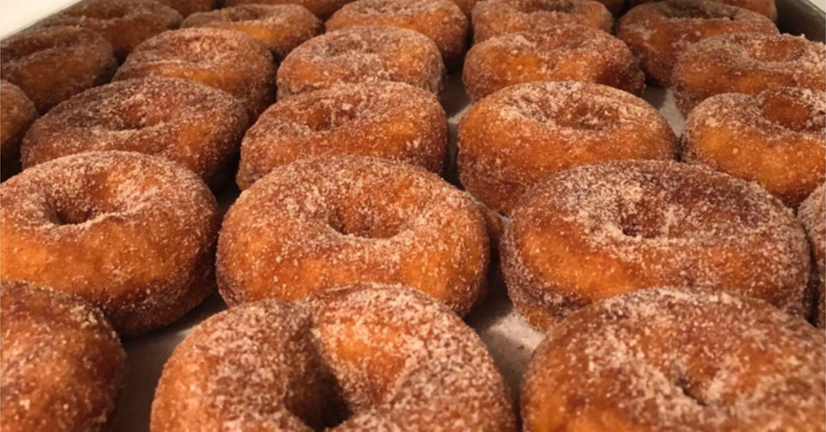 cider donuts on a tray