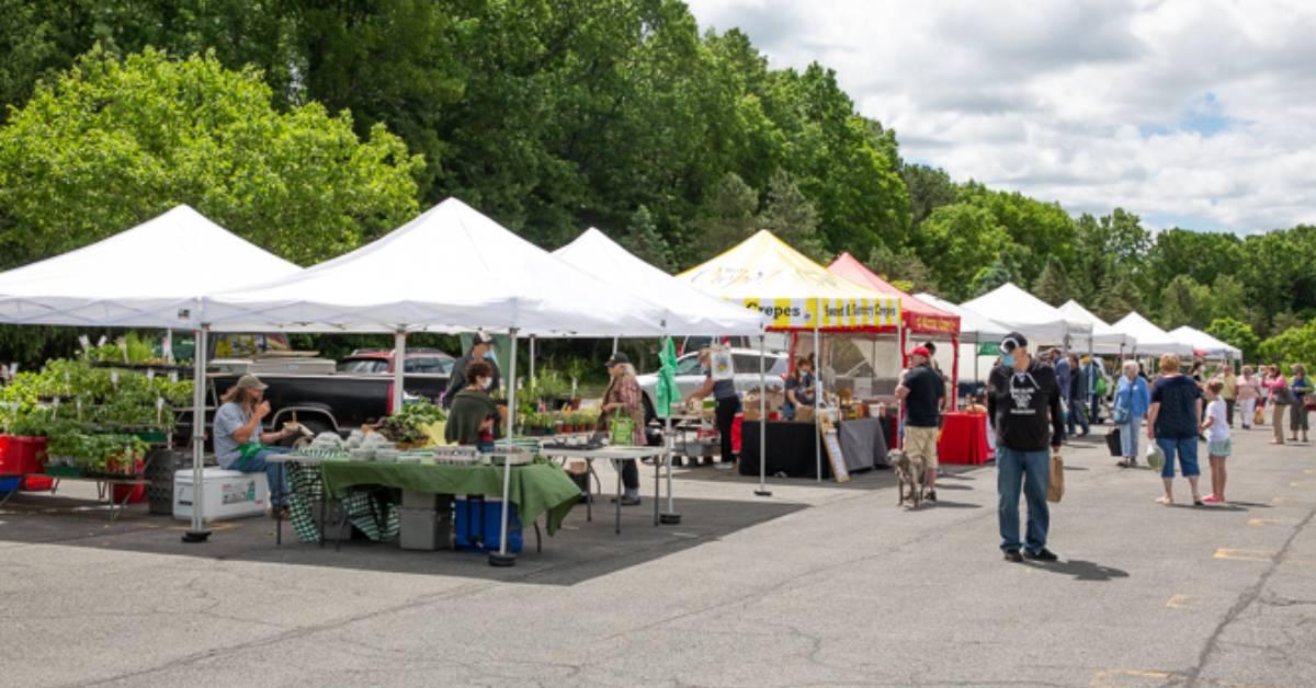 farmers market in a parking area