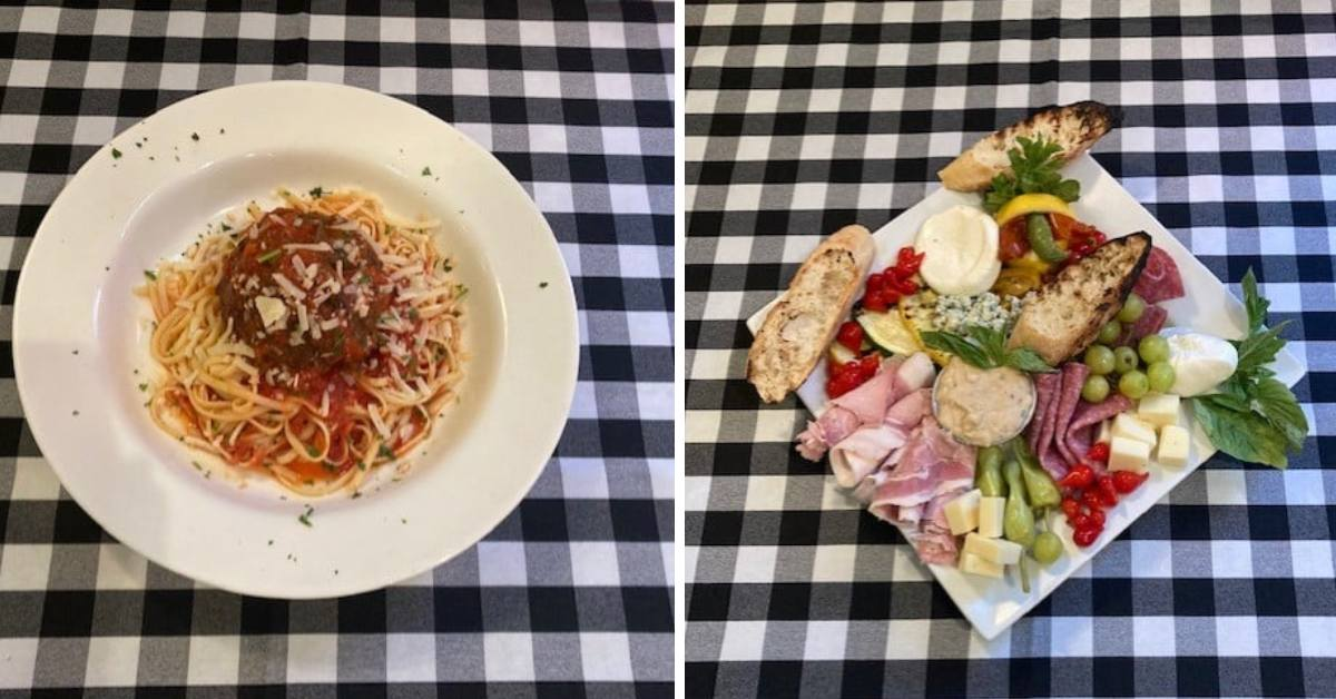 side by side photos of plates of food