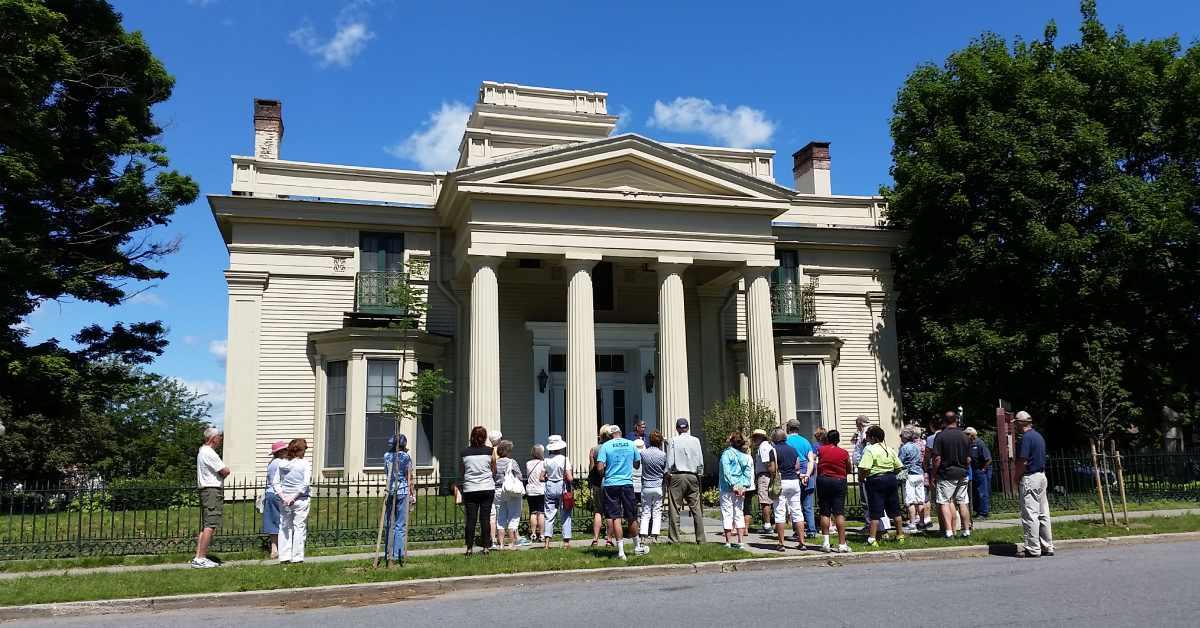 tour group outside historic building