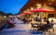 outdoor seating area in the evening