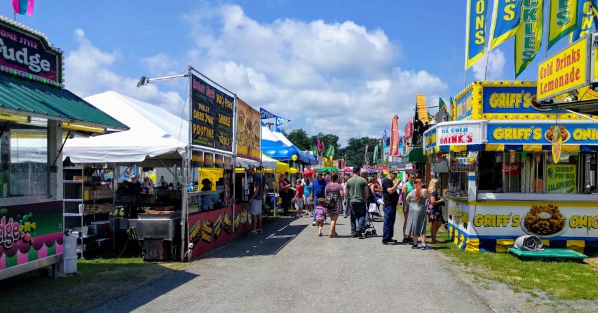 food stands at a fair