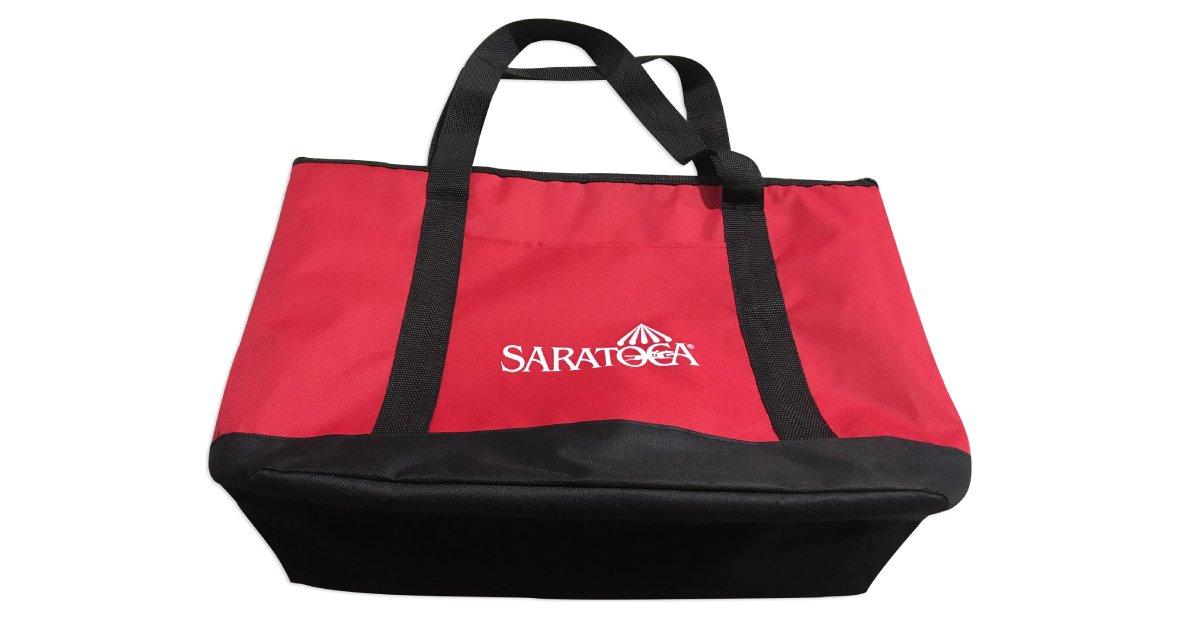a red cooler bag