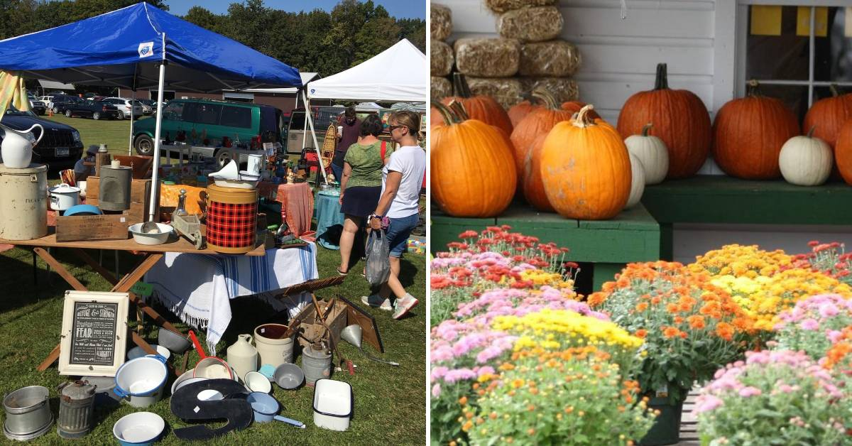 left image of antique show and right image of pumpkins