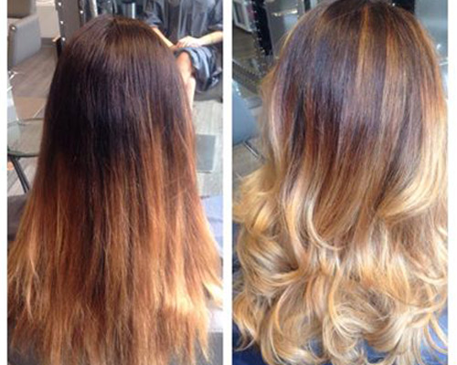 side by side photos of woman with classic ombre