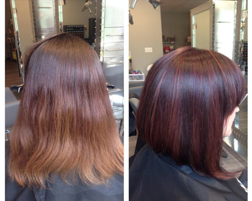 side by side photos of woman getting darker hair